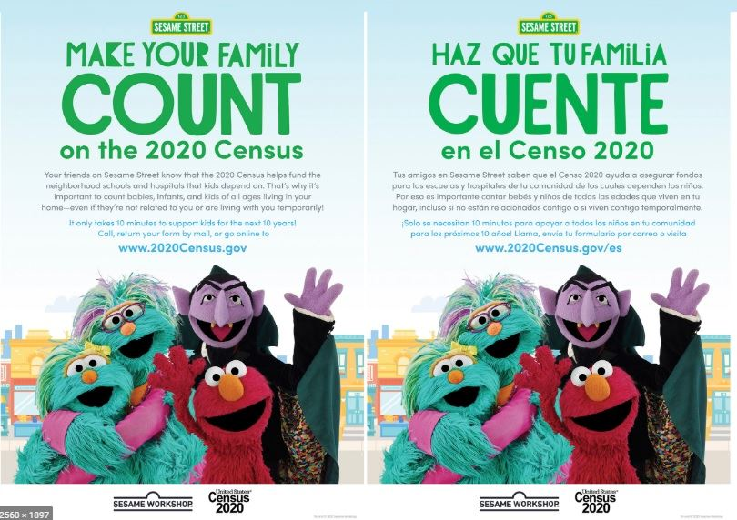Census 2020 Sesame Street Cast in English and Spanish  (JPG)
